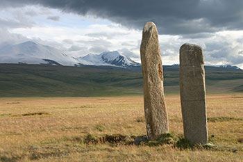 Ukok Plateau guardian stones in the Altai mountains of Russia. © 2010 Christopher McLeod