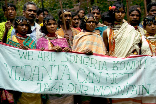 Dongria Kondh protest against Vedanta Resources, Niyamgiri, India.  Survival International